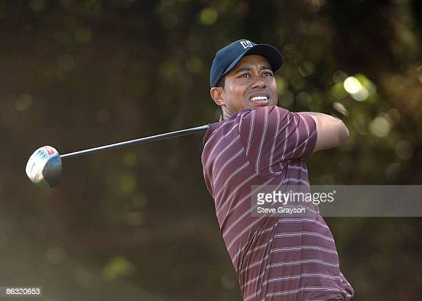 Tiger Woods hits from the seventh tee during the final round of the 2005 Target World Challenge Presented by Countrywide at the Sherwood Country Club...