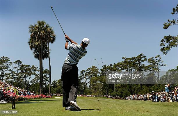 Tiger Woods hits from the third tee box during the third round of THE PLAYERS Championship on THE PLAYERS Stadium Course at TPC Sawgrass held on May...