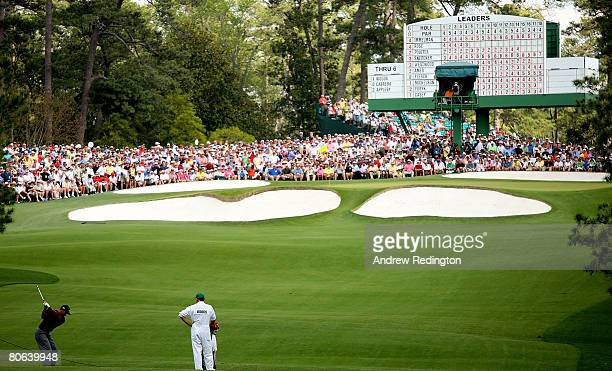 Tiger Woods hits his approach shot on the seventh hole during the second round of the 2008 Masters Tournament at Augusta National Golf Club on April...