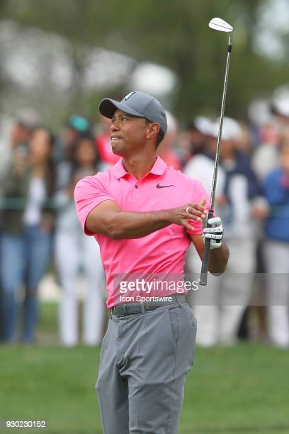 Tiger Woods hits his approach shot onto the 10th green during the third round of the Valspar Championship on March 10 at Westin Innisbrook-Copperhead...