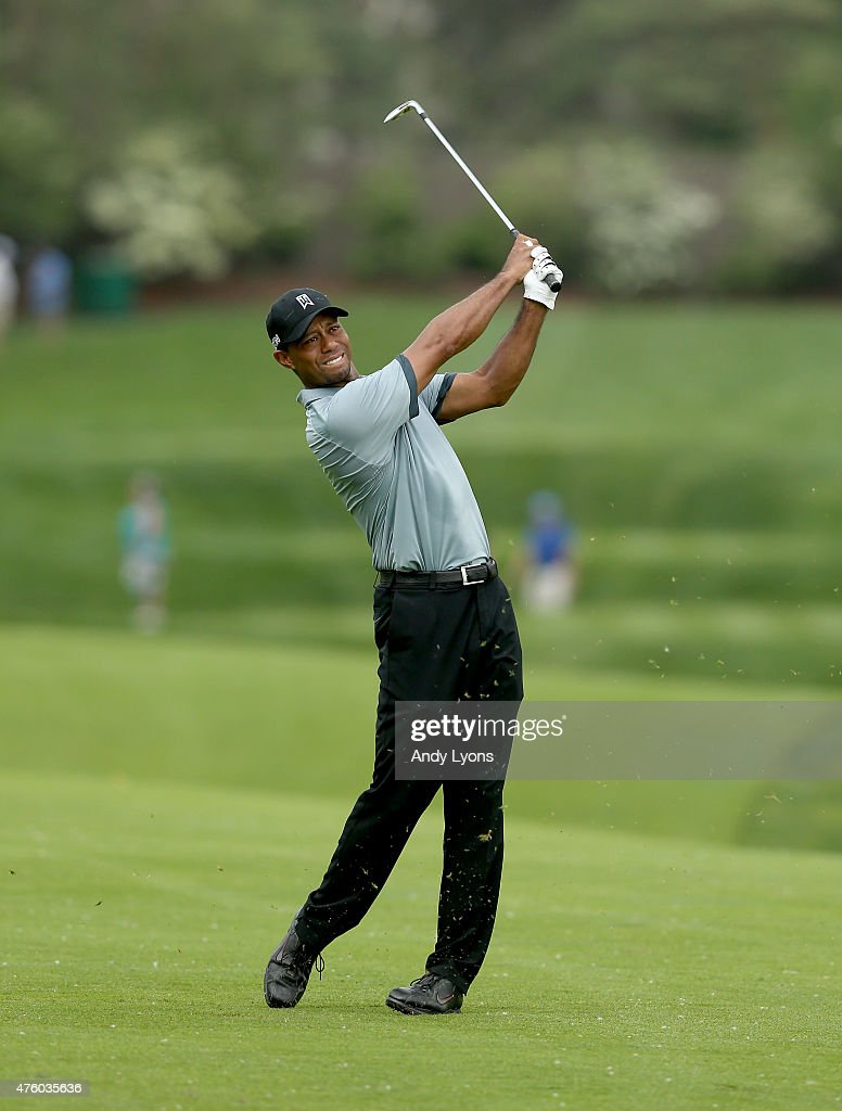 Tiger Woods hits his second shot on the 13th hole during the second round of The Memorial Tournament presented by Nationwide at Muirfield Village Golf Club on June 5, 2015 in Dublin, Ohio.