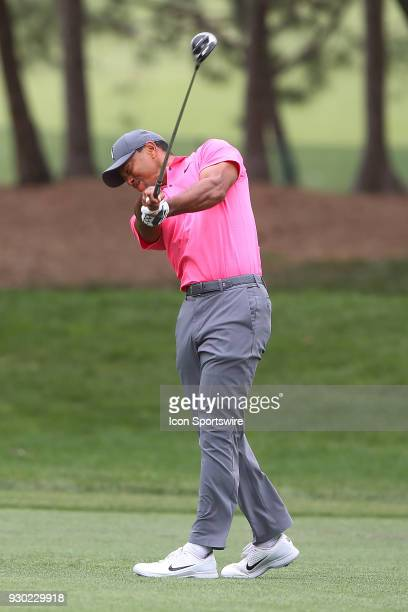Tiger Woods hits his second shot on the 5th hole during the third round of the Valspar Championship on March 10 at Westin Innisbrook-Copperhead...
