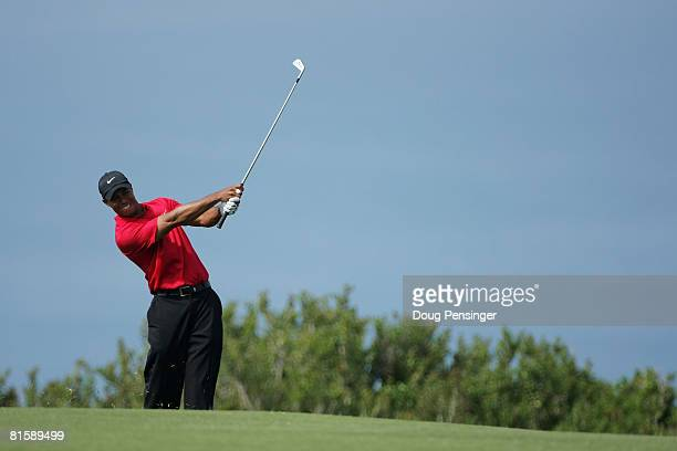 Tiger Woods hits his second shot on the fourth hole during the playoff round of the 108th US Open at the Torrey Pines Golf Course on June 16 2008 in...