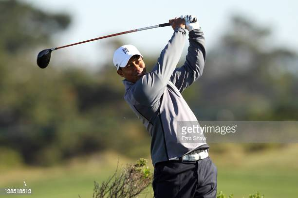 Tiger Woods hits his tee shot during the practice round for the ATT Pebble Beach National ProAm at the Monterey Peninsula Country Club on February 8...