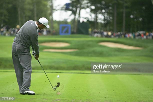 Tiger Woods hits his tee shot on the 11th hole during the second round of the Deutsche Bank Championship on September 2, 2006 at the TPC of Boston in...