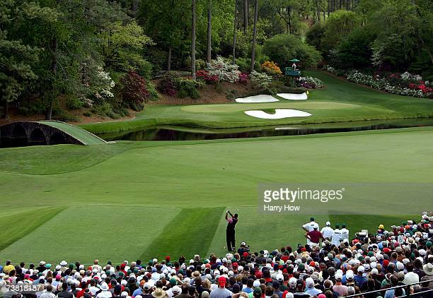 Tiger Woods hits his tee shot on the 12th hole during the first round of The Masters at the Augusta National Golf Club on April 5 2007 in Augusta...