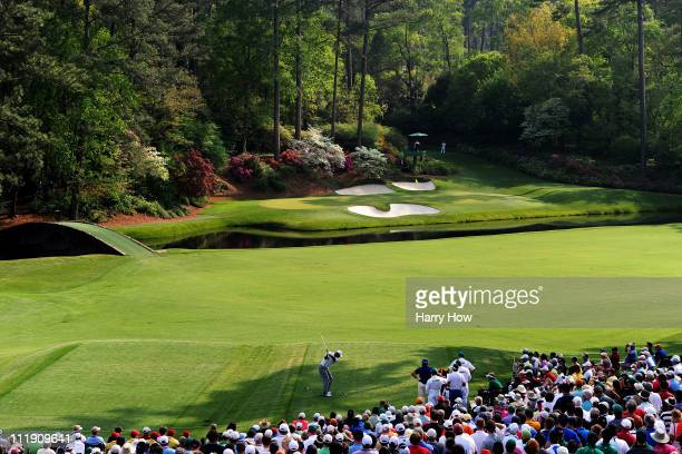 Tiger Woods hits his tee shot on the 12th hole during the second round of the 2011 Masters Tournament at Augusta National Golf Club on April 8 2011...