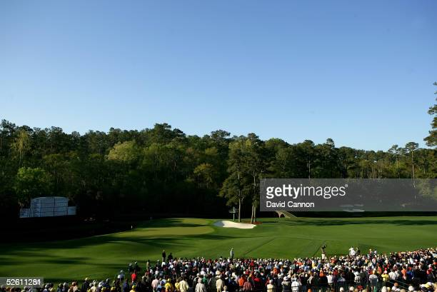 Tiger Woods hits his tee shot on the 12th hole during the third round of The Masters at the Augusta National Golf Club on April 10, 2005 in Augusta,...