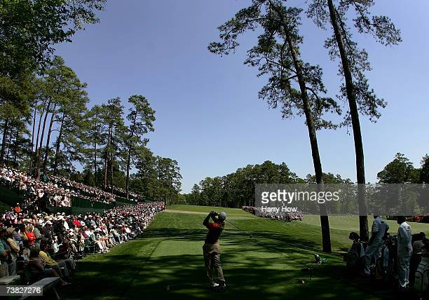 Tiger Woods hits his tee shot on the 14th hole during the second round of The Masters at the Augusta National Golf Club on April 6 2007 in Augusta...