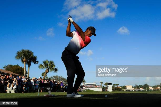 Tiger Woods hits his tee shot on the 15th hole during the second round of the Honda Classic at PGA National Resort and Spa on February 23 2018 in...