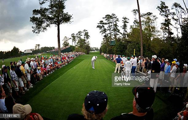Tiger Woods hits his tee shot on the 18th hole during the first round of the 2011 Masters Tournament at Augusta National Golf Club on April 7 2011 in...