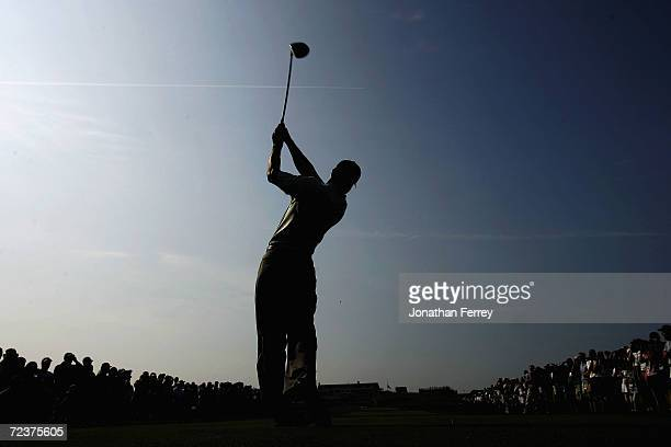 Tiger Woods hits his tee shot on the 18th hole during the third day of practice at the 104th US Open at Shinnecock Hills Golf Club on June 16 2004 in...