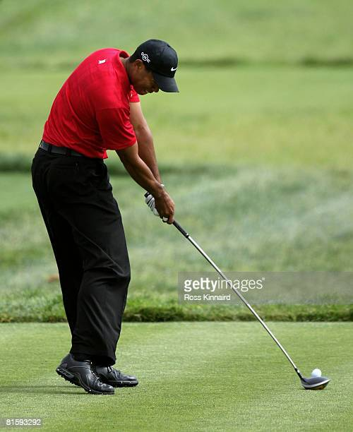 Tiger Woods hits his tee shot on the 6th hole during the playoff round of the 108th US Open at the Torrey Pines Golf Course on June 16 2008 in San...