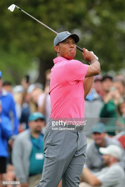 Tiger Woods hits his tee shot on the 8th hole during the third round of the Valspar Championship on March 10 at Westin Innisbrook-Copperhead Course...