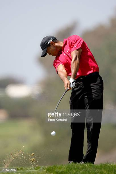 Tiger Woods hits his tee shot on the fifth hole during the final round of the 108th U.S. Open at the Torrey Pines Golf Course on June 15, 2008 in San...