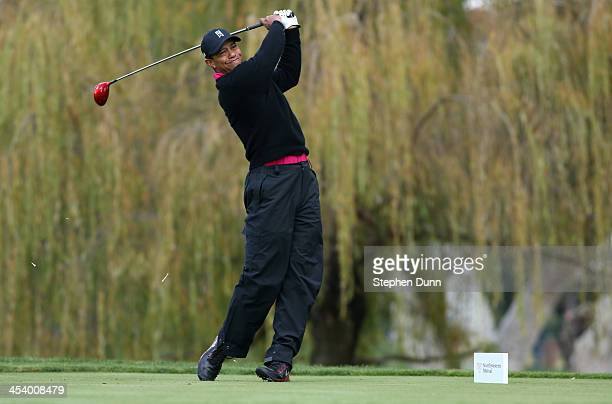 Tiger Woods hits his tee shot on the fifth hole during the second round of the Northwestern Mutual World Challenge at Sherwood Country Club on...