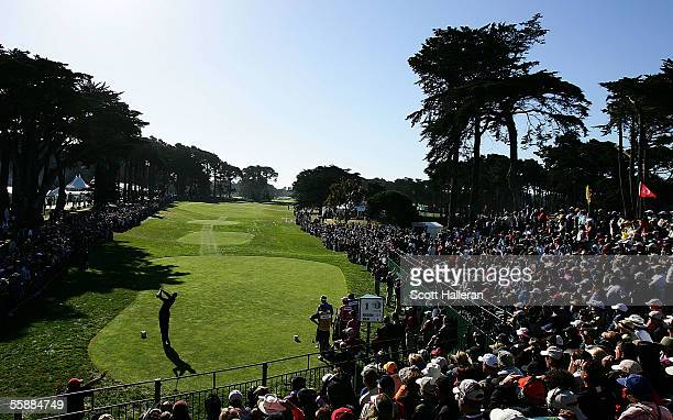 Tiger Woods hits his tee shot on the first hole during the final round of the WGC American Express Championship at Harding Park Golf Course on...