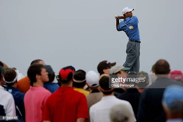 Tiger Woods hits his tee shot on the fourth hole during the first round of the 108th US Open at the Torrey Pines Golf Course on June 12 2008 in San...