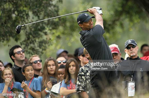 Tiger Woods hits his tee shot on the second hole during round two of the Chevron World Challenge at Sherwood Country Club on December 3, 2010 in...