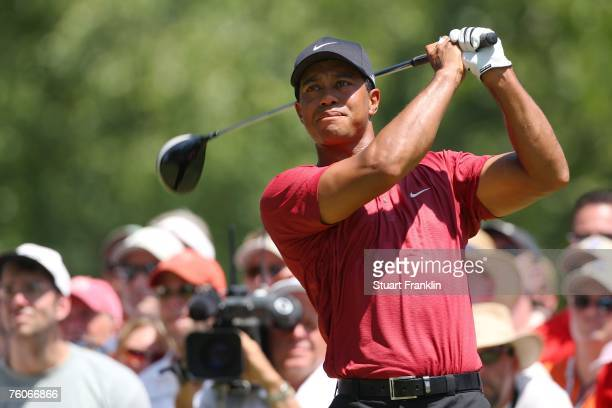 Tiger Woods hits his tee shot on the second hole during the final round of the 89th PGA Championship at the Southern Hills Country Club on August 12...