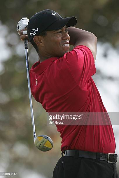 Tiger Woods hits his tee shot on the second hole during the playoff round of the 108th US Open at the Torrey Pines Golf Course on June 16 2008 in San...