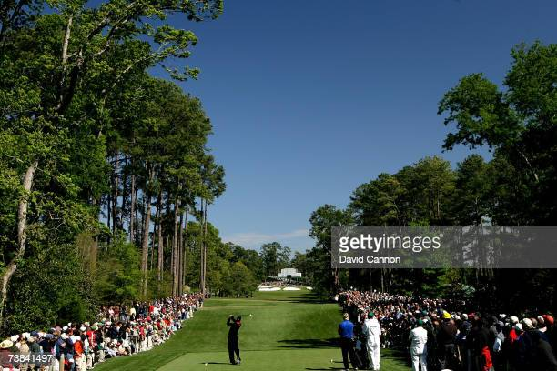 Tiger Woods hits his tee shot on the seventh hole during the final round of The Masters at the Augusta National Golf Club on April 8 2007 in Augusta...