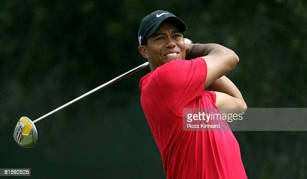 Tiger Woods hits his tee shot on the seventh hole during the playoff round of the 108th US Open at the Torrey Pines Golf Course on June 16 2008 in...