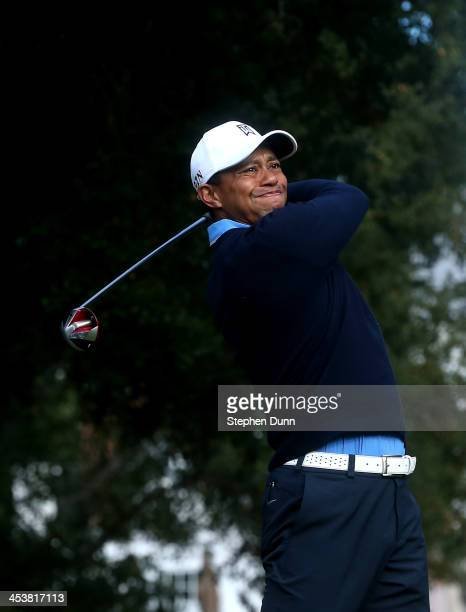 Tiger Woods hits his tee shot on the sixth hole during the first round of the Northwestern Mutual World Challenge at Sherwood Country Club on...