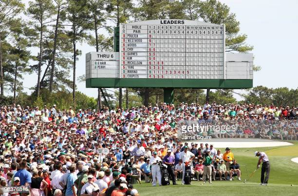 Tiger Woods hits his tee shot on the third hole during the third round of the 2010 Masters Tournament at Augusta National Golf Club on April 10, 2010...