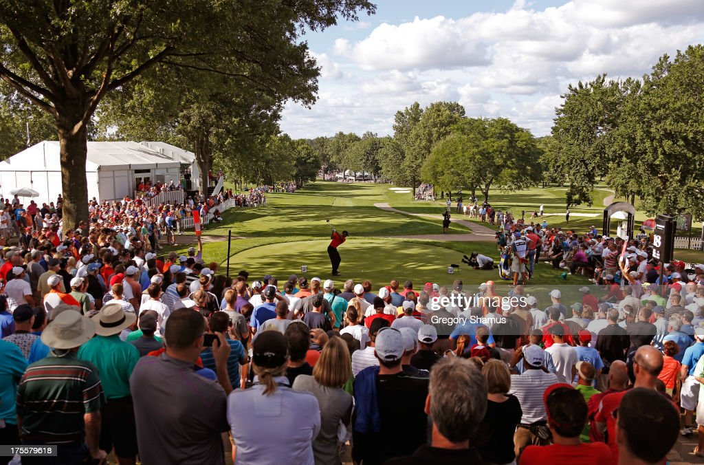 Tiger Woods hits off the 18th tee during the Final Round of the World Golf Championships-Bridgestone Invitational at Firestone Country Club South Course on August 4, 2013 in Akron, Ohio.