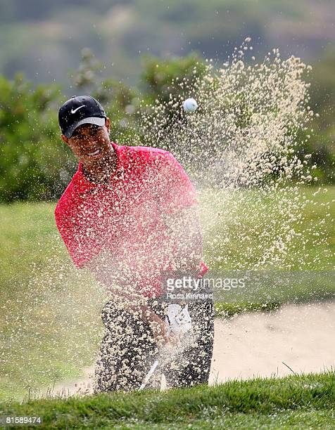 Tiger Woods hits out of the bunker on the third hole during the playoff round of the 108th US Open at the Torrey Pines Golf Course on June 16 2008 in...
