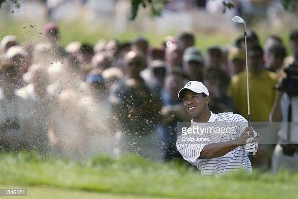 Tiger Woods hits out of the sand on the first hole during the second round on August 16, 2002 for the PGA Championship at Hazeltine National Golf...