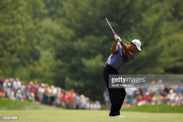 Tiger Woods hits to the fifth green during the third round of the ATT National at Congressional Country Club on July 7 2007 in Bethesda Maryland