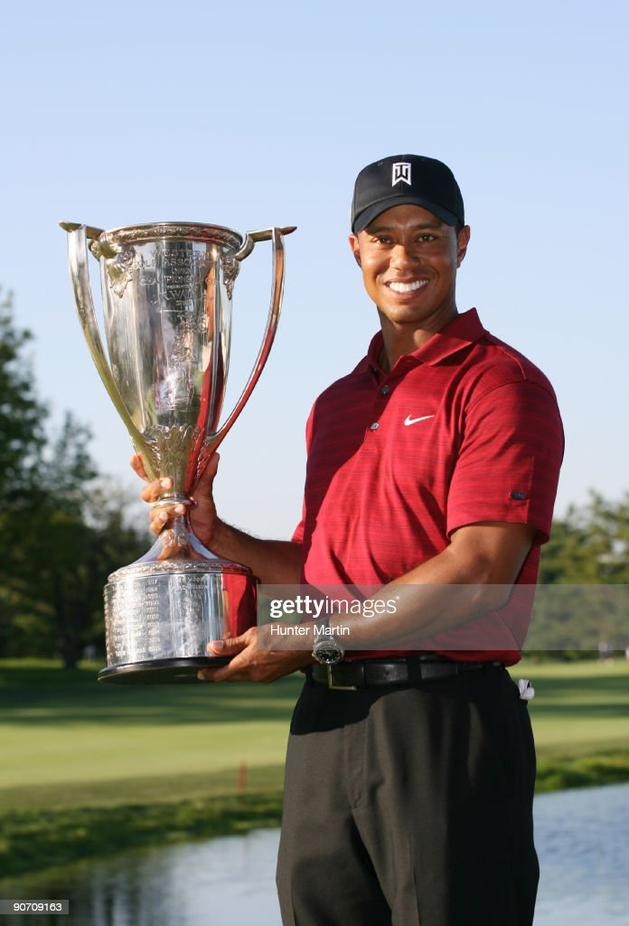 Tiger Woods holds the J.K. Wadley trophy after winning the BMW Championship at Cog Hill Golf & Country Club on September 13, 2009 in Lemont, Illinois.