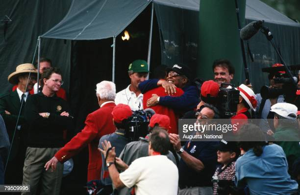 Tiger Woods Hugs Father Earl During The 1997 Masters Tournament