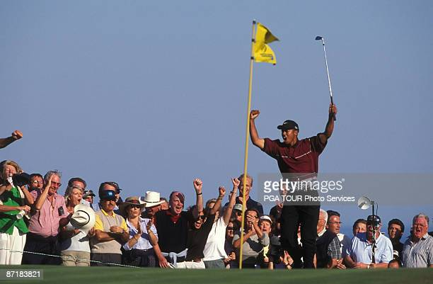 Tiger Woods in action during the 1999 WGCAmerican Express Championship held at the Valderrama Golf Course in Andalucia Spain