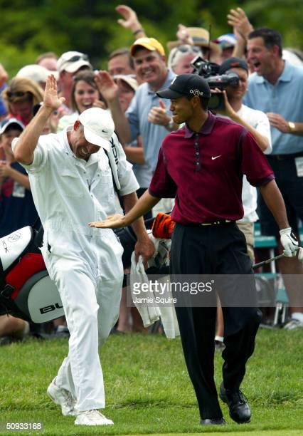 Tiger Woods is congratulated by caddie Steve Williams after chipping in to save par on the 14th hole during the final round of the Memorial...