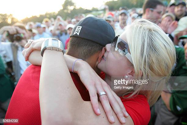 Tiger Woods is kissed by wife Elin after winning the 2005 Masters on April 10 2005 at Augusta National Golf Course in Augusta Georgia