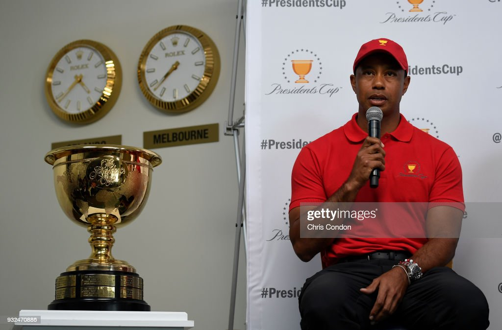 Tiger Woods is named captain for the United States team for the 2019 President's Cup in Melbourne, Australia prior to the Arnold Palmer Invitational presented by MasterCard at Bay Hill Club and Lodge on March 13, 2018 in Orlando, Florida.