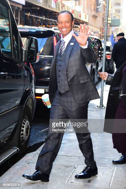 Tiger Woods is seen outside 'Good Morning America' on March 20 2017 in New York City