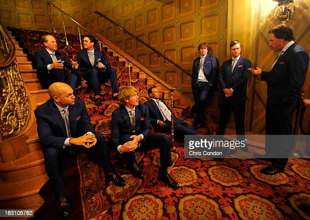 Tiger Woods Jason Dufner and Phil Mickelson and members of the US Team wait to go onstage during the opening ceremonies at Columbus Commons prior to...