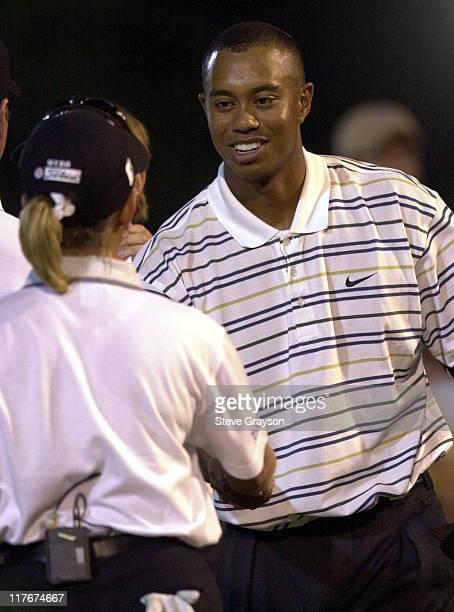 Tiger Woods Karri Webb during Tiger Woods and Annika Sorenstam win Battle at Bighorn at Big Horn Country Club in Palm Desert California United States