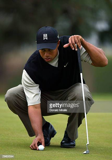 Tiger Woods lines up a putt during the 3rd round at the Buick Invitational at Torrey Pines Golf Course on February 14, 2004 in La Jolla, California.