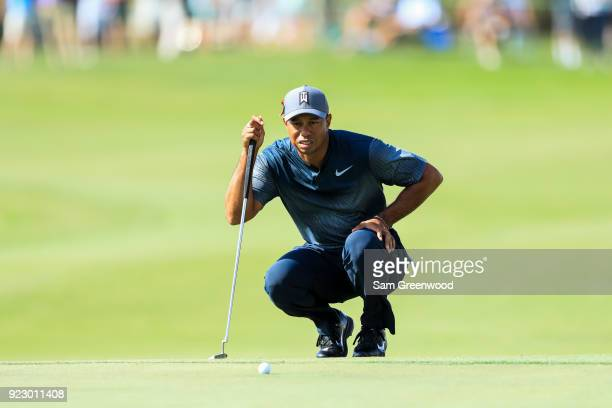 Tiger Woods lines up a putt on 18th during the first round of the Honda Classic at PGA National Resort and Spa on February 22 2018 in Palm Beach...