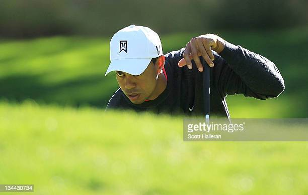 Tiger Woods lines up a putt on the fifth green during the first round of the Chevron World Challenge at Sherwood Country Club on December 1, 2011 in...