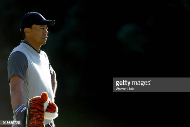 Tiger Woods lines up a shot on the 13th hole during the first round of the Genesis Open at Riviera Country Club on February 15 2018 in Pacific...