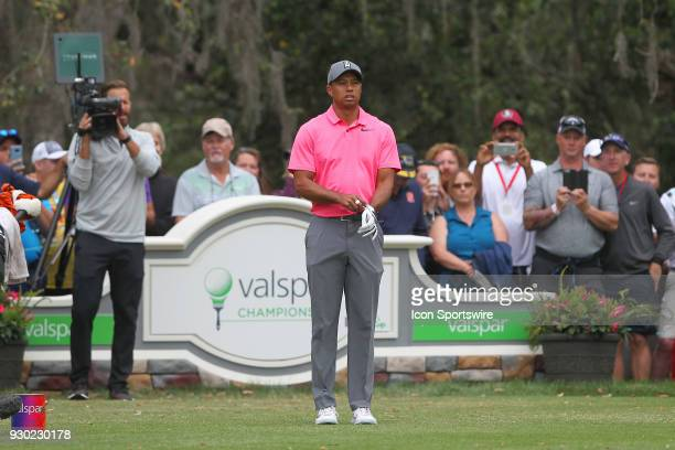 Tiger Woods looks down the 11th fairway during the third round of the Valspar Championship on March 10 at Westin Innisbrook-Copperhead Course in Palm...