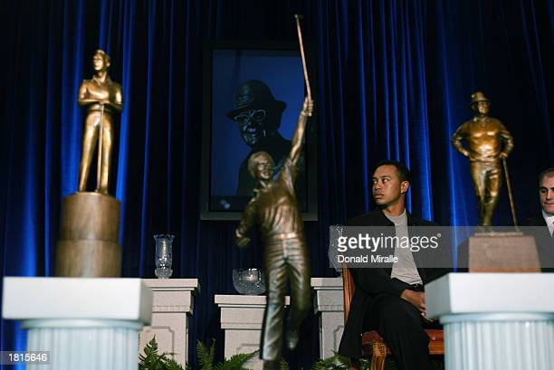Tiger Woods looks on amidst Arnold Palmer Jack Nicklaus and Byron Nelson Award Trophies all of which he won during the PGA Awards Ceremony for 2002...