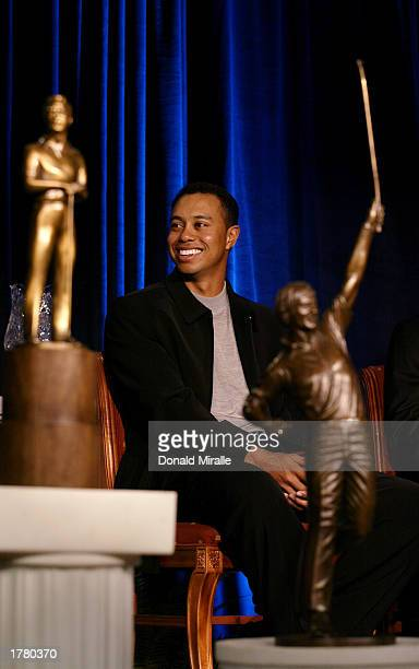 Tiger Woods looks on amidst the Arnold Palmer Jack Nicklaus and Byron Nelson Awards Trophies all of which he won during the PGA Awards Ceremony for...