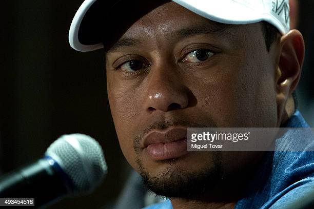 Tiger Woods looks on during a press conference to launch Bridgestone America's Golf Cup at Presidente Intercontinental Polanco Hotel on October 20...